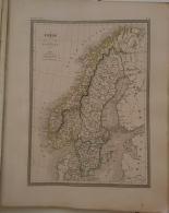 CARTE GEOGRAPHIQUE ANCIENNE: SUEDE Et NORVEGE (garantie Authentique. Epoque 19 Eme Siecle) - Cartes Géographiques