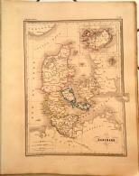 CARTE GEOGRAPHIQUE ANCIENNE: DANEMARK, Islande  (garantie Authentique. Epoque 19 Eme Siecle) - Cartes Géographiques