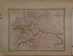 CARTE GEOGRAPHIQUE ANCIENNE: Carte De L' ALLEMAGNE Par CERCLES (garantie Authentique. Epoque 19 Eme Siecle) - Cartes Géographiques