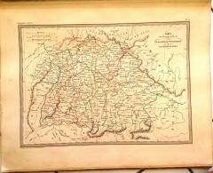 CARTE GEOGRAPHIQUE ANCIENNE: LA BAVIERE, LE WURTEMBERG, Et LE GD DUCHE DE BADE (garantie Authentique. Epoque 19 Eme Siec - Cartes Géographiques