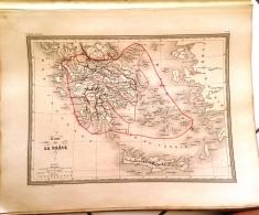 CARTE GEOGRAPHIQUE ANCIENNE: Carte De La GRECE (garantie Authentique. Epoque 19 Eme Siecle) - Cartes Géographiques