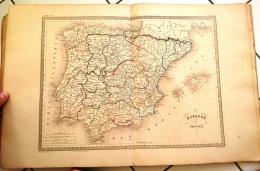 CARTE GEOGRAPHIQUE ANCIENNE: ESPAGNE ET PORTUGAL (garantie Authentique. Epoque 19 Eme Siecle) - Cartes Géographiques