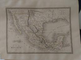 CARTE GEOGRAPHIQUE ANCIENNE: ETATS UNIS  Du MEXIQUE (garantie Authentique. Epoque 19 Eme Siecle) - Cartes Géographiques