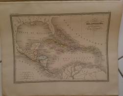 CARTE GEOGRAPHIQUE ANCIENNE: CAarte Des ANTILLES Du Golfe Du Mexique Et Du GUATEMALA - Cartes Géographiques
