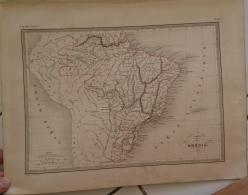 CARTE GEOGRAPHIQUE ANCIENNE: Carte Du BRESIL (garantie Authentique. Epoque 19 Eme Siecle) - Cartes Géographiques