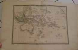 CARTE GEOGRAPHIQUE ANCIENNE: CARTE DE L'OCEANIE (garantie Authentique. Epoque 19 Eme Siecle) - Geographical Maps