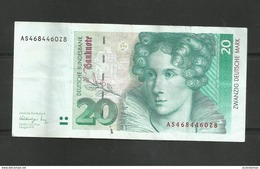 GERMANY 20 MARK 1991 BANKNOTE DEUTSCHE BUNDESBANK ZWANZIG DEUTSCHE MARK - 20 Deutsche Mark