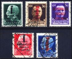 ITALIA 1944 RSI SERIE IMPERIALE SOPRASTAMPE VARIE SASS. 491/495 USATI (F127f) - 4. 1944-45 Repubblica Sociale