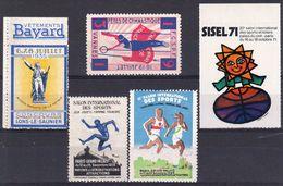 CONCOURS GYMNASTIQUE & MUSIQUE LONS LE SAUNIER 1935 'Pub Bayard - VANNES 1931 - SALONS 1928 & 1929 - Commemorative Labels