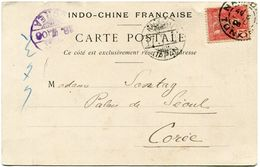 INDOCHINE CARTE POSTALE DEPART NAM-DINH 5 JUIL 06 TONKIN POUR LA COREE - Lettres & Documents
