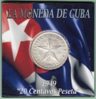1949-MN-118 CUBA REPUBLICA. SILVER 20c STAR 1949. ESTRELLA RADIANTE. XF PLUS - Cuba