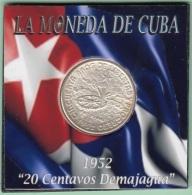 1952-MN-122 CUBA REPUBLICA. KM 24. SILVER. 20c. 1952. 50 ANIV REPUBLICA. INGENIO LA DEMAJAGUA. XF BRILLO ORIGINAL. - Cuba