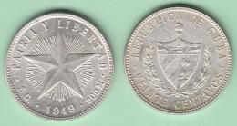 1949-MN-121 CUBA REPUBLICA. SILVER 20c STAR 1949. ESTRELLA RADIANTE. XF PLUS BRILLO ORIGINAL. - Cuba