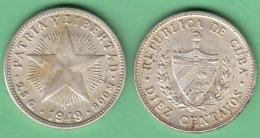 1949-MN-120 CUBA REPUBLICA. SILVER 10c STAR 1949. ESTRELLA RADIANTE. XF - Cuba