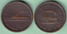 TK-353 CUBA SPAIN ESPAÑA 1881 TOKEN FERROCARRIL DE LA BAHIA DE LA HABANA. RAILROAD SHIP VAPOR BRONCE - Tokens & Medals