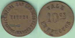TK-354 CUBA SPAIN ESPAÑA TOKEN SUGAR MILLS S.XIX 10c. INGENIO SAN CLAUDIO, CABAÑAS, PINAR DEL RIO. 20 Mm. - Tokens & Medals