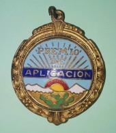 O420 CUBA CIRCA 1950. MEDALLA DE COLEGIO ESMALTADA. PREMIO APLICACION 32 Mm. - Tokens & Medals