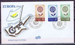 Cyprus; 1964; Europa - CEPT.  Set Of 3 On FDC. - 1964