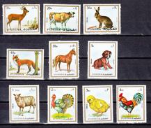 Fujeira 1972,9V,set,deer,cow,hare,fox,horse,sheep,turkey,coq,MNH/Postfris(A3388) - Farm
