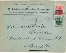 Ath Censure (Ludwig 6) OC 3 + 12 Sur Lettre Du 28.03.17 De La Quincaillerie Lesneucq - Vanden Branden à LESSINES - [OC1/25] Gouv. Gén.