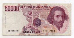 """Italia - Banconota Da Lire 50.000 """"Bernini""""  - 1° Tipo - Decreto 01.12.1986 -  (FDC5094) - [ 2] 1946-… : République"""