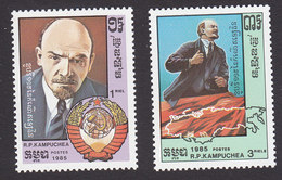 Cambodia, Scott #611-612, Mint Hinged, Lenin, Issued 1985 - Cambodia