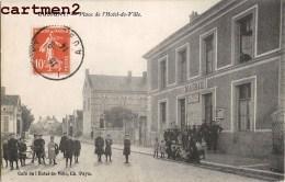 LUSIGNY PLACE DE L'HOTEL DE VILLE ANIMEE MAIRIE + CACHET LIEU DE DESTINATION ENVAHI ARDENNES MENUISIER A DEVILLE - France