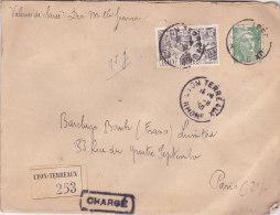 Bg -Enveloppe 1950 - Cachet LYON TERREAUX - Cachets De Cire Au Dos - 1921-1960: Modern Period