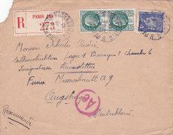 Bg - Enveloppe 1943 -  Cachets Augsburg, Haunstetten, Paris R. D'amsterdam , Recommandée - Marcophilie (Lettres)