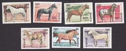 Cambodia, Scott #653-659, Mint Hinged, Horses, Issued 1986 - Cambodge