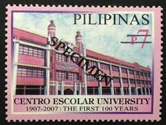 Philippines 2007 Specimen - Centro Escolar University Centennial 1V MNH - Other