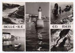 BELLE ISLE EN MER ---1957--Multivues (phare,grotte,ports ) ,cpsm 15 X 10  N° 2560  éd  JOS - Belle Ile En Mer
