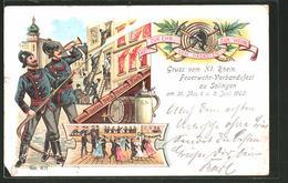 Lithographie Solingen, XI. Rhein. Feuerwehr-Verbandsfest 1902 - Firemen