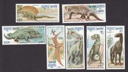 Cambodia, Scott #663-669, Mint Hinged, Dinosaur, Issued 1986 - Cambodia