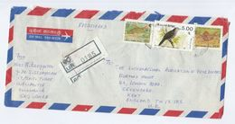 1991 REGISTERED  SRi LANKA COVER Stamps  FISH , Bird'   To GB Birds - Sri Lanka (Ceylon) (1948-...)