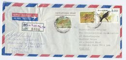 1991 REGISTERED  SRi LANKA COVER From ASSOCIATED NEWSPAPERS OF CEYLON  To GB  Fish Bird Stamps Newspaper - Sri Lanka (Ceylon) (1948-...)