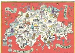 CPSM  - Carte Illustrée De La SUISSE  Par OTTO M. MÛLLER  - 1956 . - Cartes Géographiques
