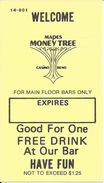 Mapes Money Tree Casino - Reno, NV - Paper Free Drink Coupon - Casino Closed In 1982 - Advertising