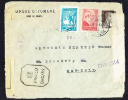 1941  Lettre D'Istambul Pour Les USA - Censure Des FFL (Liban-Syrie)  Et Censure Anglaise Calcutta - Briefe U. Dokumente