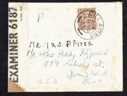 1943  Lettre Pour Les USA - Censure Américaine - 1937-1949 Éire