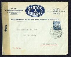 1944  Lettre De Porto Pour Les USA - Censure Américaine - 1910-... République