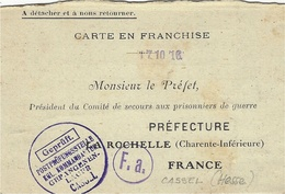 1916--WWI - Carte En Franchise - Blanc Teintée  De CASSEL ( Hesse ) Pour Le Préfet De La Rochelle ( Charente Inf. ) - Marcophilie (Lettres)