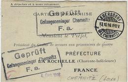 1916--WWI - Carte En Franchise - Blanc  De CHEMNITZ ( Saxe )   Pour Le Préfet De La Rochelle ( Charente Inf. ) - Guerre De 1914-18