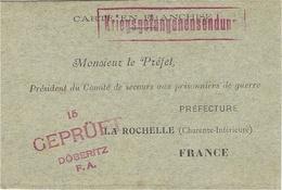 WWI - Carte En Franchise  -gris Vert   D'un P G à DÖBERITZ   Au Préfet De La Rochelle - - Guerre De 1914-18