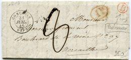 ISERE De PONT CHARRA LAC Du 29/07/1845 Boîte Rurale Rouge B + Dateur T 15 De GONCELIN Taxée 8 Pour VERSAILLES - 1801-1848: Précurseurs XIX