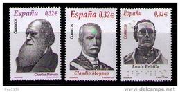 ESPAÑA 2009 - PERSONAJES - MOYANO - DARWIN - BRAILLE - EDIFIL Nº 4498-4500 - 1931-Oggi: 2. Rep. - ... Juan Carlos I