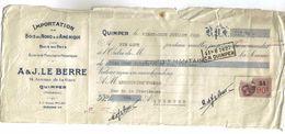 Lettre De Change 1938 A & J LE BERRE Importation Bois 14 Av De La Gare à Quimper Timbre Fiscal - Lettres De Change