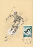 D30435 CARTE MAXIMUM CARD 1956 SAN MARINO - DOWNHILL SKIING OLYMPICS CORTINA CP PHOTOCARD - Skiing