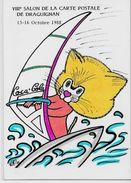 Cpm Salon De Carte Postale Par Armand Pin Up érotisme Tirage Limité Pin Up Draguignan Chat Coca Cola - Bourses & Salons De Collections