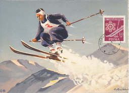 D30439 CARTE MAXIMUM CARD 1959 POLAND - SKIING DOWN HILL RACING CP ORIGINAL - Skiing